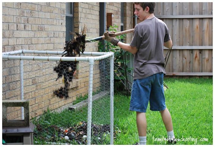 compost turning pitchfork