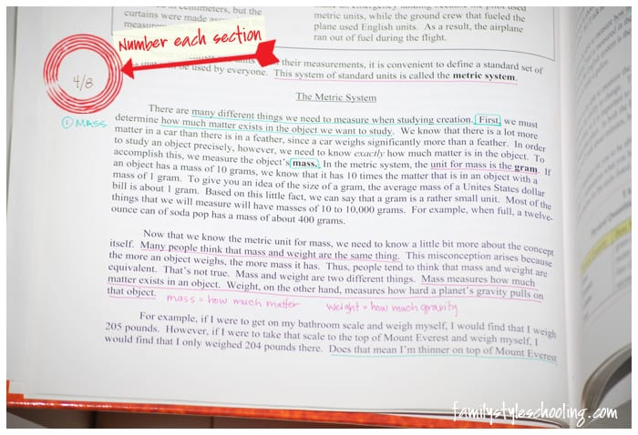 highlighting nonfiction label each section