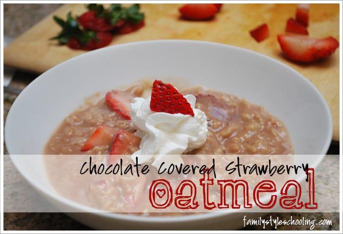 sugar free chocolate covered strawberry oatmeal breakfast