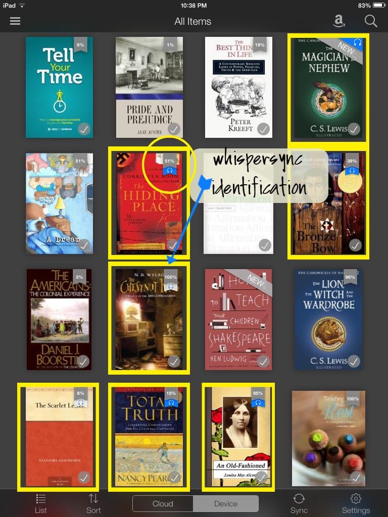 Kindle library bookshelf