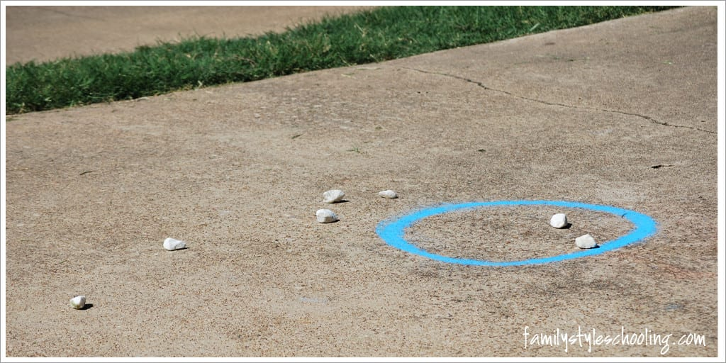 math outside count rocks inside circle and outside