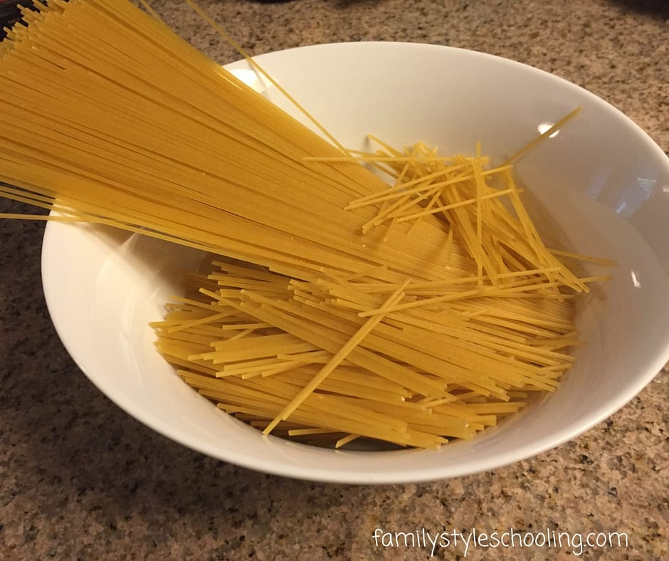 spaghetti noodles for the yummy noodle bowl