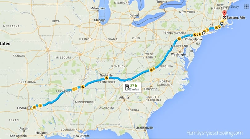 Road trip from Dallas to Boston