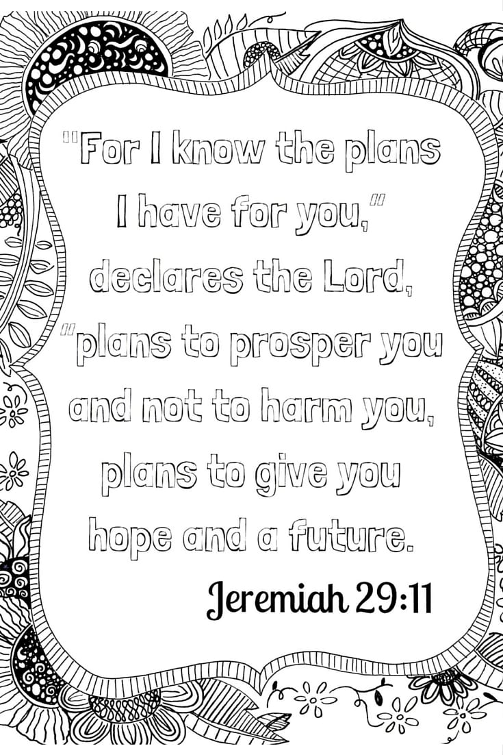 Jeremiah 29:11 Adult Coloring Printable