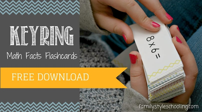 Free Printable: Key Ring Math Facts Flashcards - Family Style Schooling