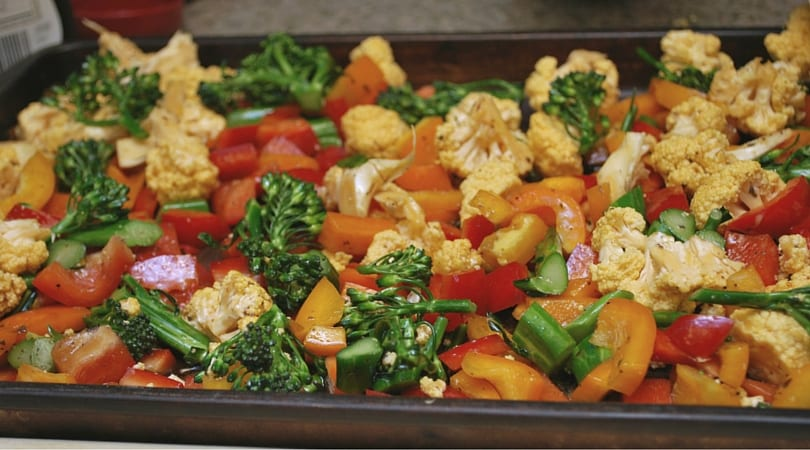 Roasted Veggies with Bacon and Rotisserie Chicken