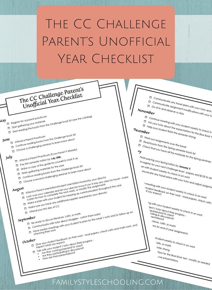 CC Challenge Parent's Checklist