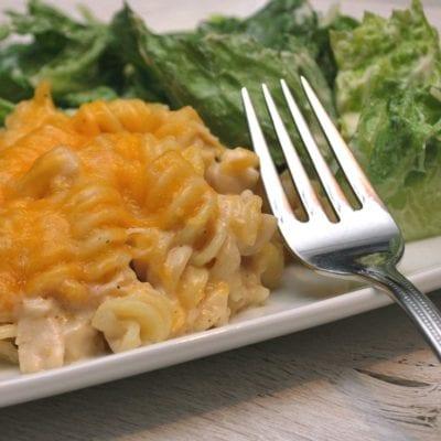 5 Ingredient Simple Chicken Alfredo Pasta Bake